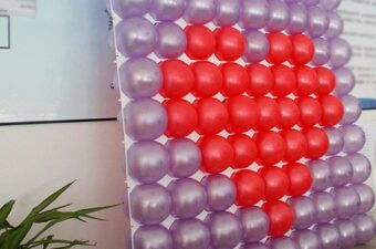 Balloon wall with grid